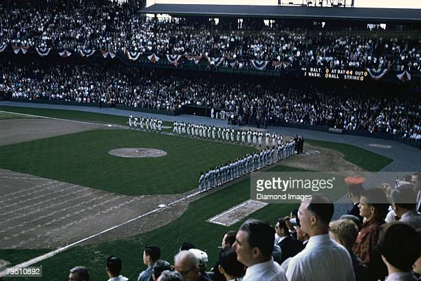 A general view of the stadium as the opposing teams line up along the basepaths for the playing of the national anthem prior to Opening Day on April...