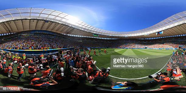 A general view of the stadium as the players come onto the pitch before the 2014 FIFA World Cup Brazil quarterfinal match between Argentina v Belgium...