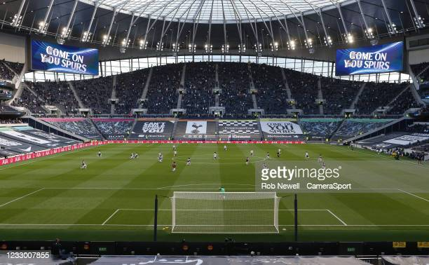 General view of the stadium as the players take a knee during the Premier League match between Tottenham Hotspur and Aston Villa at Tottenham Hotspur...