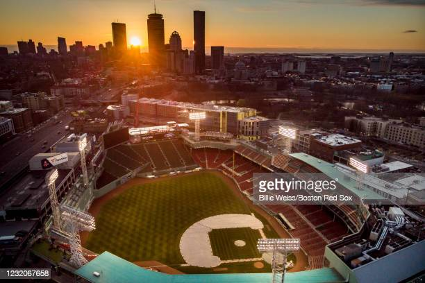 General view of the stadium as the sun rises before the 2021 Opening Day game between the Boston Red Sox and the Baltimore Orioles on April 2, 2021...