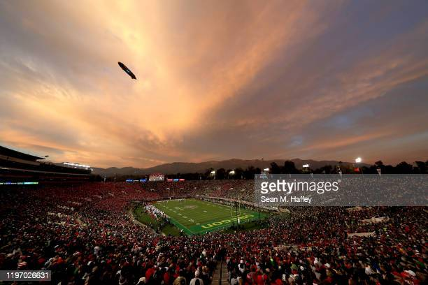 General view of the stadium as the sun sets as the Oregon Ducks play the Wisconsin Badgers during the third quarter in the Rose Bowl game presented...