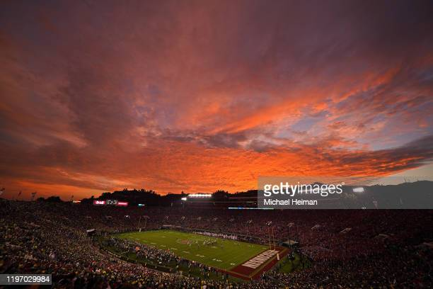 General view of the stadium as the sun sets as the Oregon Ducks play the Wisconsin Badgers during the fourth quarter in the Rose Bowl game presented...