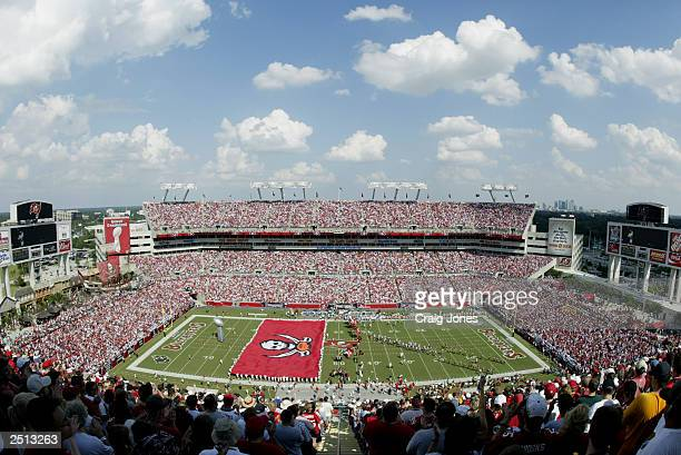 A general view of the stadium as the Tampa Bay Buccaneers are introduced before a game against the Carolina Panthers on September 14 2003 at Raymond...
