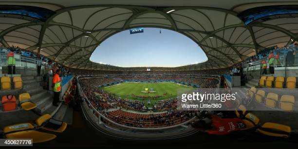 A general view of the stadium as the teams line up before the 2014 FIFA World Cup Brazil Group D match between England v Italy at Arena Amazonia on...