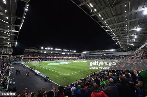 General view of the stadium as the teams line up before the FIFA 2018 World Cup Qualifier between Northern Ireland and San Marino at Windsor Park on...