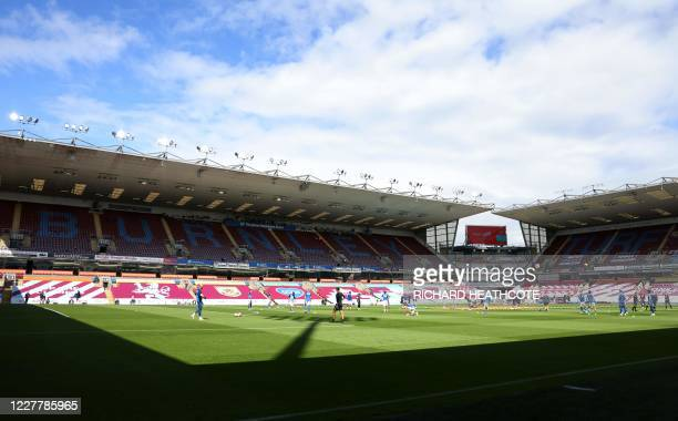 General view of the stadium as the teams warm up ahead of the English Premier League football match between Burnley and Brighton and Hove Albion at...