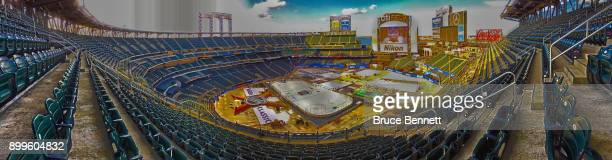 A general view of the stadium as workers prepare the rink prior to the 2018 Bridestone NHL Winter Classic which will occur on New Years' Day at Citi...