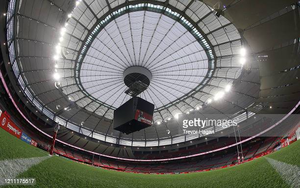 General view of the stadium at BC Place on March 08, 2020 in Vancouver, Canada. Created with fisheye lens. Test image.