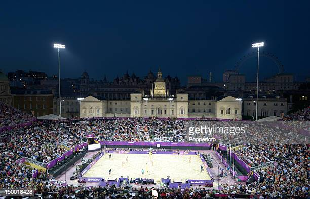 General view of the stadium at dusk during the Women's Beach Volleyball Gold medal match against the United States on Day 12 of the London 2012...