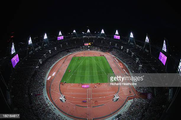 General view of the stadium at night during the athletics on Day 15 of the London 2012 Olympic Games at Olympic Stadium on August 11, 2012 in London,...