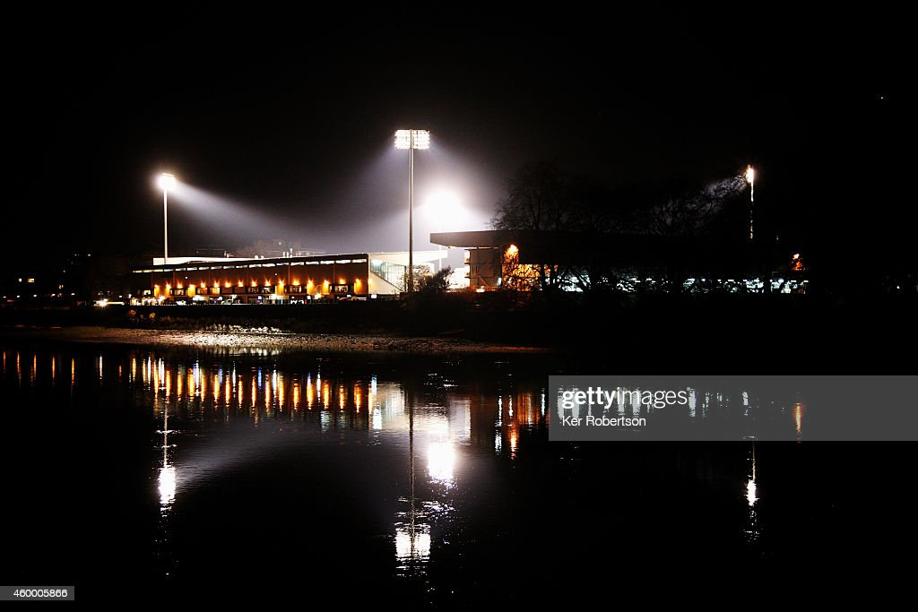 General view of the stadium at night from the opposite bank of the River Thames before the Sky Bet Championship match between Fulham and Watford at Craven Cottage on December 5, 2014 in London, England.