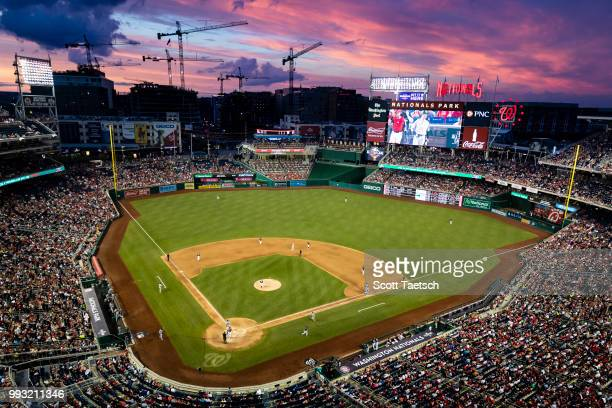 A general view of the stadium at sunset during the fifth inning of the game between the Washington Nationals and the Miami Marlins at Nationals Park...