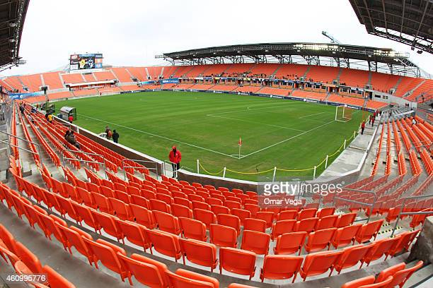 A general view of the stadium before a friendly match between America and Monterrey at BBVA Compass Stadium on January 03 2015 in Houston United...