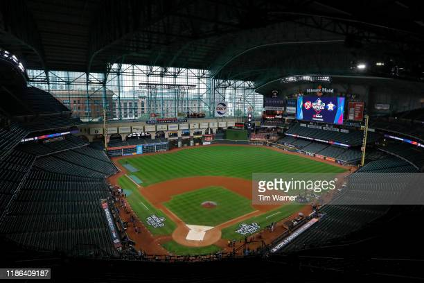 A general view of the stadium before Game Seven of the 2019 World Series between the Houston Astros and the Washington Nationals at Minute Maid Park...