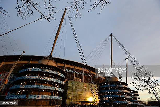 A general view of the stadium before the Barclays Premier League match between Manchester City and Everton at Etihad Stadium on December 6 2014 in...