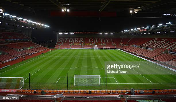 A general view of the stadium before the Barclays Premier League match between Stoke City and Chelsea at the Britannia Stadium on December 22 2014 in...