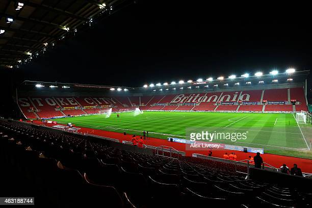 A general view of the stadium before the Barclays Premier League match between Stoke City and Manchester City at Britannia Stadium on February 11...