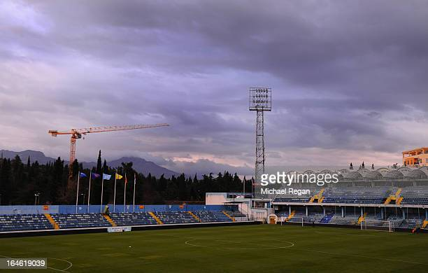 A general view of the stadium before the England training session at City Stadium on March 25 2013 in Podgorica Montenegro