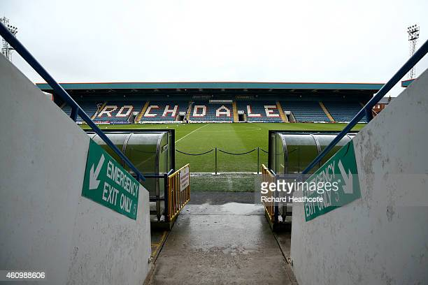 A general view of the stadium before the FA Cup Third Round match between Rochdale and Nottingham Forest at Spotland Stadium on January 3 2015 in...