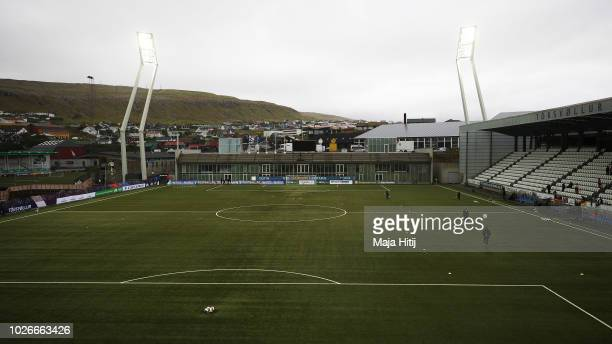 General view of the stadium before the Faeroe Islands Women's v Germany Women's 2019 FIFA Women's World Championship Qualifier match on September 4,...