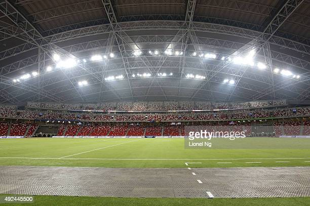 General view of the stadium before the FIFA 2018 World Cup Qualifier match between Singapore and Cambodia at the National Stadium on October 13 2015...
