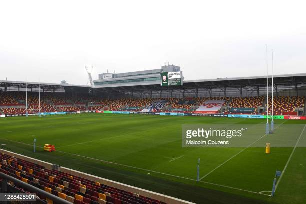 A general view of the stadium before the Gallagher Premiership Rugby match between London Irish and Leicester Tigers at Brentford Community Stadium...