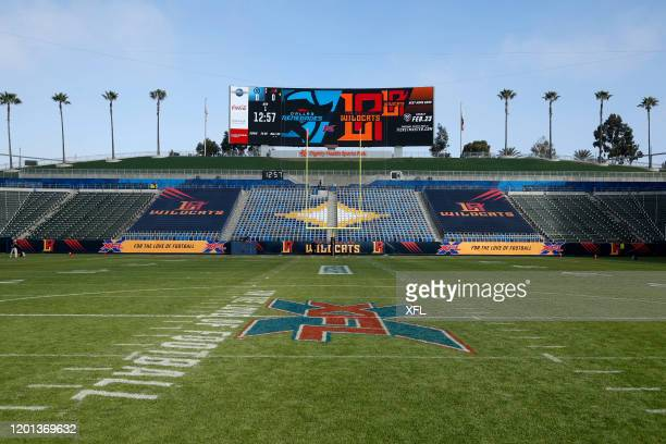 General view of the stadium before the game between the Dallas Renegades and the LA Wildcats at Dignity Health Sports Park on February 16, 2020 in...