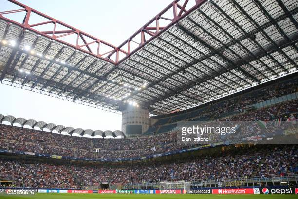 A general view of the stadium before the Group B match of the UEFA Champions League between FC Internazionale and Tottenham Hotspur at San Siro...