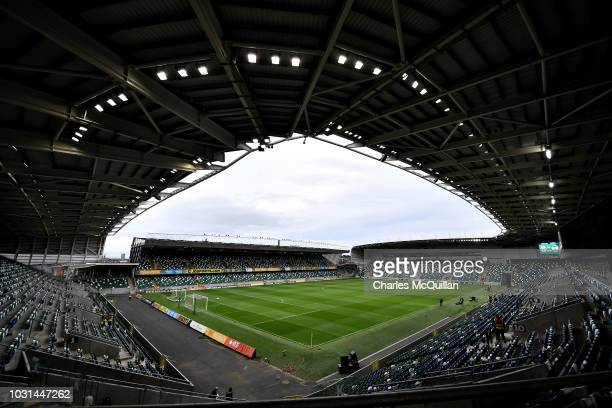 General view of the stadium before the international friendly football match between Northern Ireland and Israel at Windsor Park on September 11 2018...