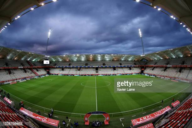 General view of the stadium before the Ligue 1 match between Stade Reims and Paris Saint-Germain at Stade Auguste Delaune on September 27, 2020 in...