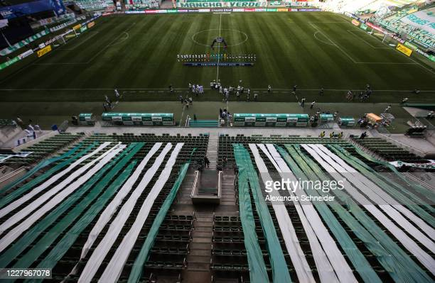 A general view of the stadium before the match between Corinthians and Palmeiras as part of the State Championship Final at Arena Corinthians on...