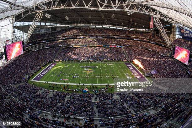 A general view of the stadium before the Minnesota Vikings and New Orleans Saints game on September 11 2017 at US Bank Stadium in Minneapolis...