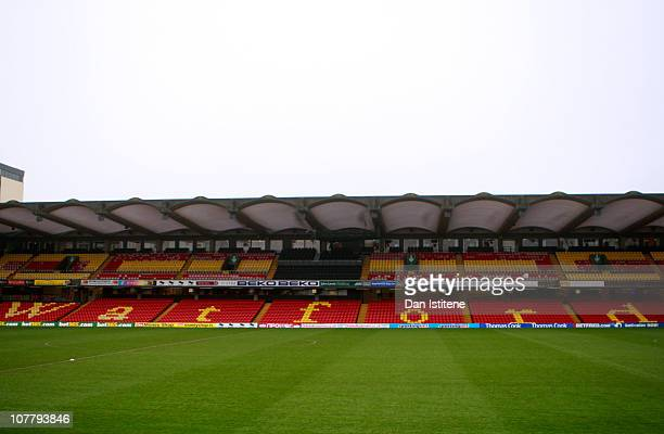 A general view of the stadium before the npower Championship match between Watford and Cardiff City at Vicarage Road on December 28 2010 in Watford...
