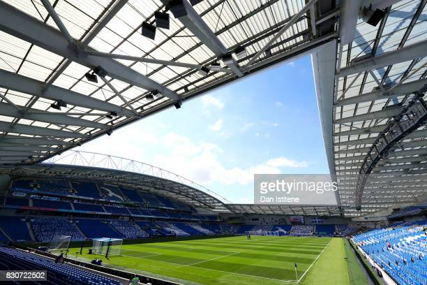 A general view of the stadium before the Premier League match between Brighton and Hove Albion and Manchester City at Amex Stadium on August 12 2017...