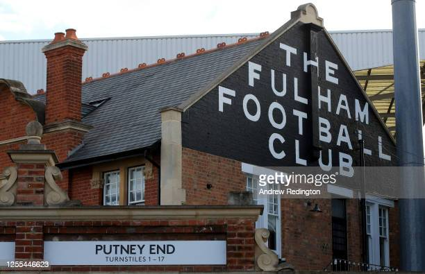 General view of the stadium before the Sky Bet Championship match between Fulham and Cardiff City at Craven Cottage on July 10, 2020 in London,...