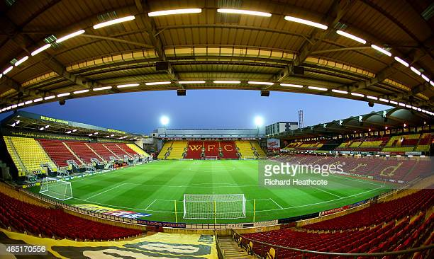 A general view of the stadium before the Sky Bet Championship match between Watford and Fulham at Vicarage Road on March 3 2015 in Watford England