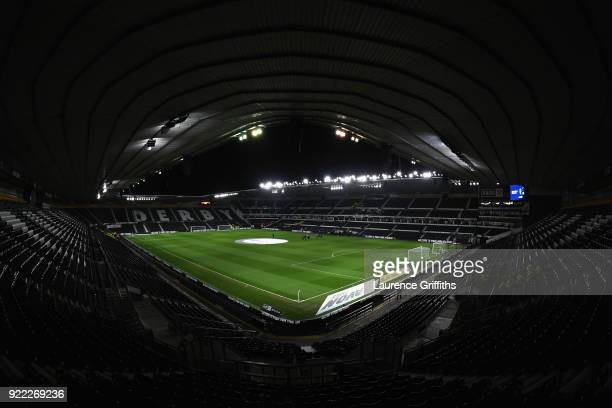 A general view of the stadium before the Sky Bet Championship match between Derby County and Leeds United at iPro Stadium on February 21 2018 in...