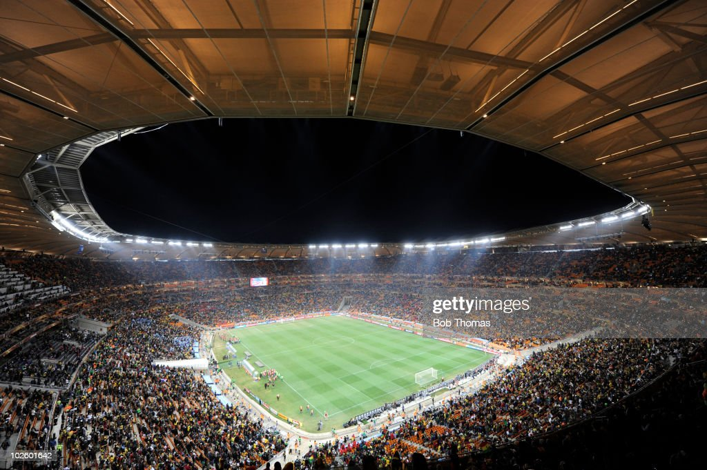 A general view of the stadium before the start of the 2010 FIFA World Cup South Africa Quarter Final match between Uruguay and Ghana at the Soccer City stadium on July 2, 2010 in Johannesburg, South Africa. The match ended 1-1 after extra-time. Uruguay won 4-2 on penalties.