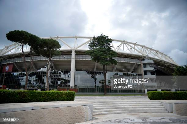 A general view of the stadium before the TIM Cup Final between Juventus and AC Milan at Stadio Olimpico on May 9 2018 in Rome Italy