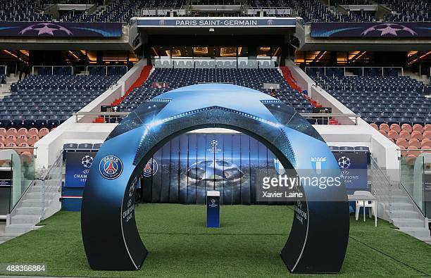 A general view of the stadium before the UEFA Champions League between Paris SaintGermain and Malmo FF at Parc Des Princes on September 15 2015 in...