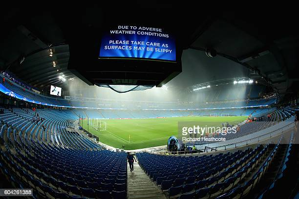 A general view of the stadium before the UEFA Champions League Group A match between Manchester City FC and VfL Borussia Moenchengladbach at Etihad...