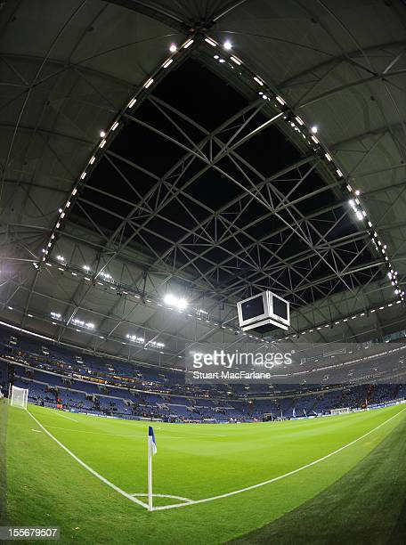 A general view of the stadium before the UEFA Champions League Group B match between FC Schalke 04 and Arsenal FC at the VeltinsArena on November 6...