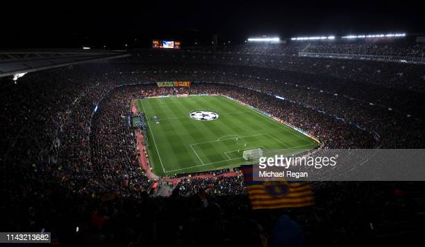 A general view of the stadium before the UEFA Champions League Quarter Final second leg match between FC Barcelona and Manchester United at Camp Nou...