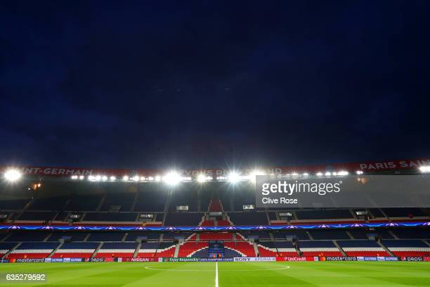 General view of the stadium before the UEFA Champions League Round of 16 first leg match between Paris Saint-Germain and FC Barcelona at Parc des...