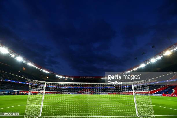 A general view of the stadium before the UEFA Champions League Round of 16 first leg match between Paris SaintGermain and FC Barcelona at Parc des...
