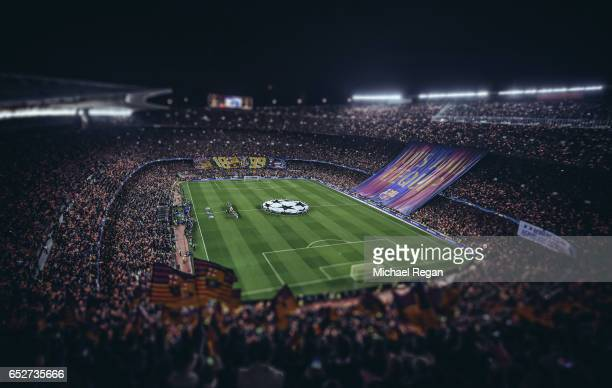 FILTERS] A general view of the stadium before the UEFA Champions League Round of 16 second leg match between FC Barcelona and Paris SaintGermain at...