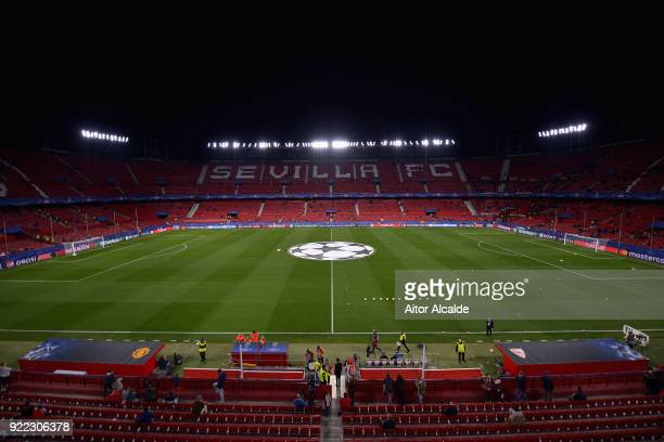A general view of the stadium before the UEFA Champions League Round of 16 First Leg match between Sevilla FC and Manchester United at Estadio Ramon...