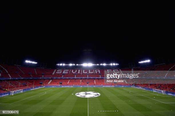 General view of the stadium before the UEFA Champions League Round of 16 First Leg match between Sevilla FC and Manchester United at Estadio Ramon...