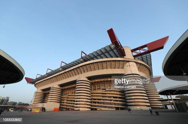 A general view of the stadium before the UEFA Europa League Group F match between AC Milan and Real Betis at Stadio Giuseppe Meazza on October 25...