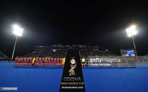 General view of the stadium before the World Cup Final between Netherlands and Belgium during the FIH Men's Hockey World Cup Final tournament at...